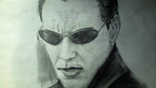 Drawing Keanu Reeves as Neo from the matrix 1999