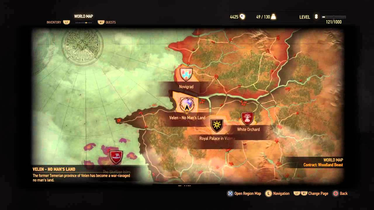 The Witcher 3 general idea of the world map size - YouTube