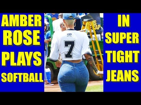 BATTER UP! AMBER ROSE SEXY JEANS CAM at JAVALE McGEE  WARRIORS JUGLIFE SOFTBALL GAME thumbnail