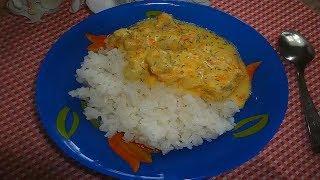 Филе минтая в сметанно - сырном соусе