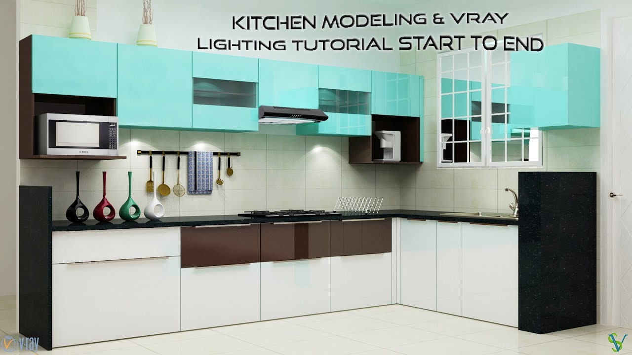 3D Max Kitchen Modeling U0026 VRay Lighting Tutorial Start To End. Sadvin Design  Studio