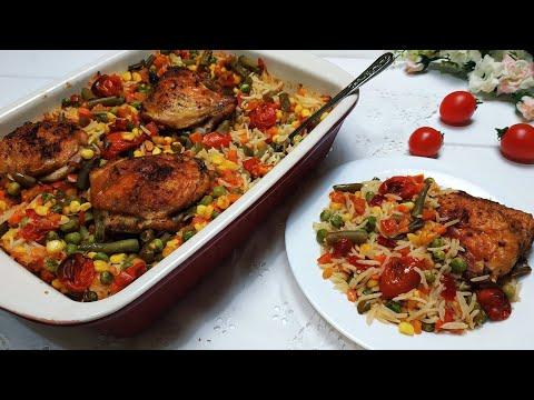 Быстрый и очень вкусный рис с овощами и курицей!