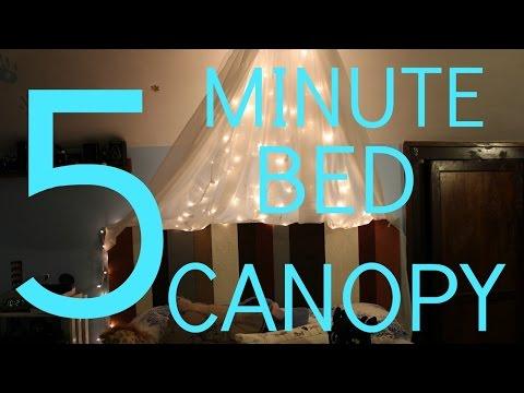 DIY BED CANOPY + FAIRY LIGHTS
