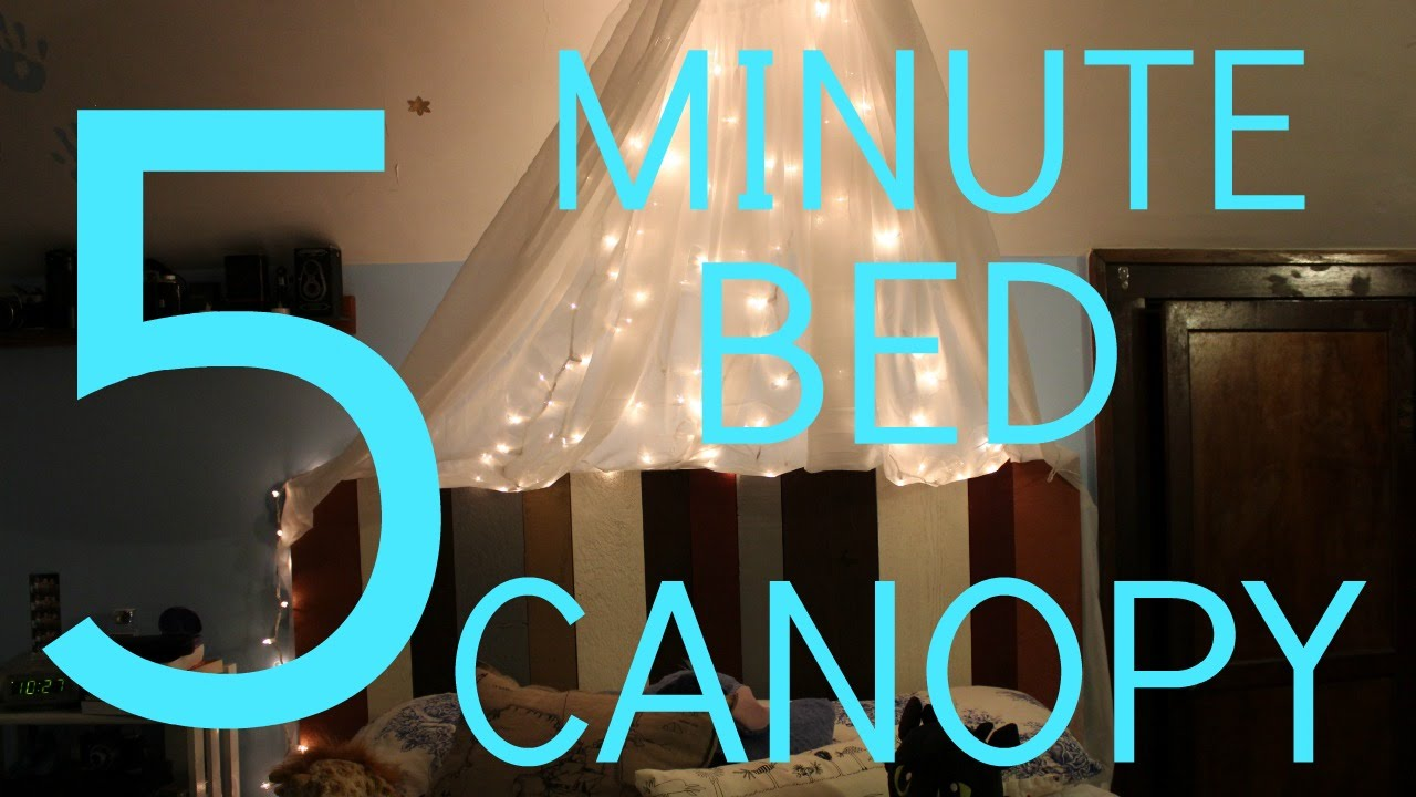 DIY BED CANOPY + FAIRY LIGHTS - YouTube