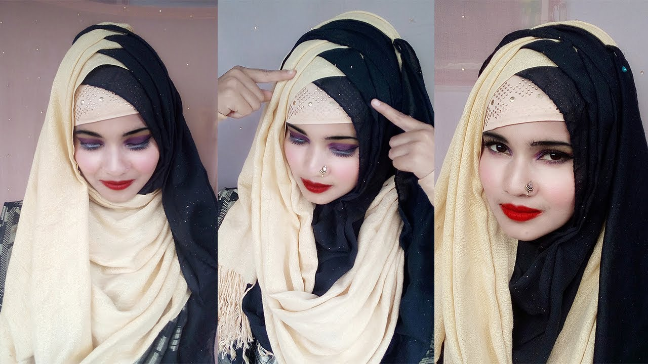 Criss Cross Hijab Style With Black Saree Most Legend And