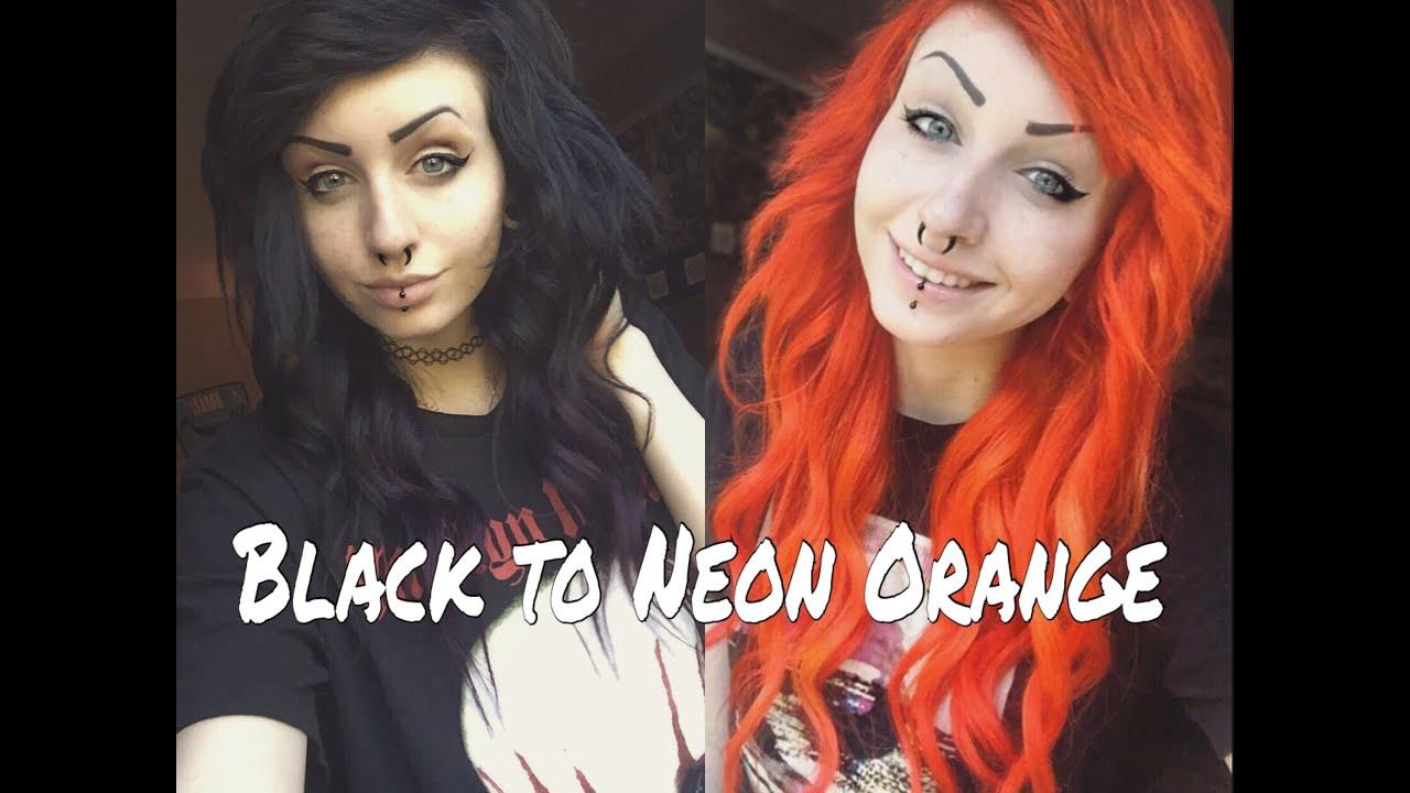 Black Hair to NEON Orange   Emili Lucia