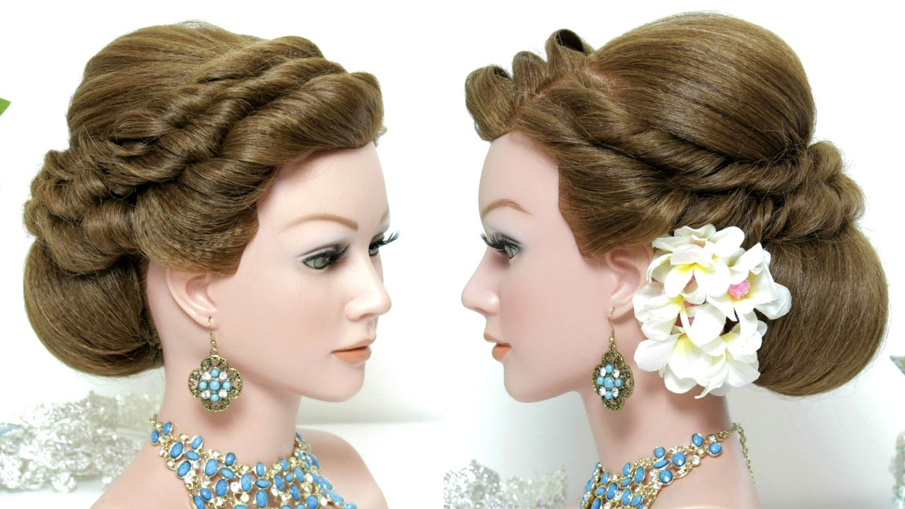 Bridal  hairstyle  Wedding  updo  for long hair  tutorial