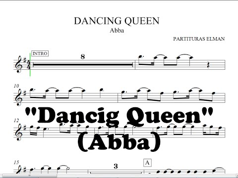 Dancing Queen Abba  Partitura para Saxo, Trompeta, Violin, Guitarra, etc,