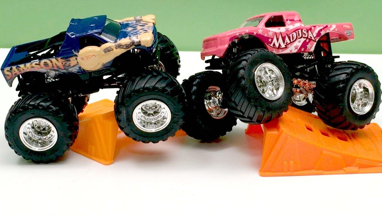 Ausmalbild Madusa Monster Truck: MADUSA & SAMSON Monster Jam Monster Trucks Hot Wheels