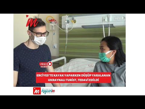 Erciyes'te kayak yaparken düşüp yaralanan Ukraynalı turist, tedavi edildi