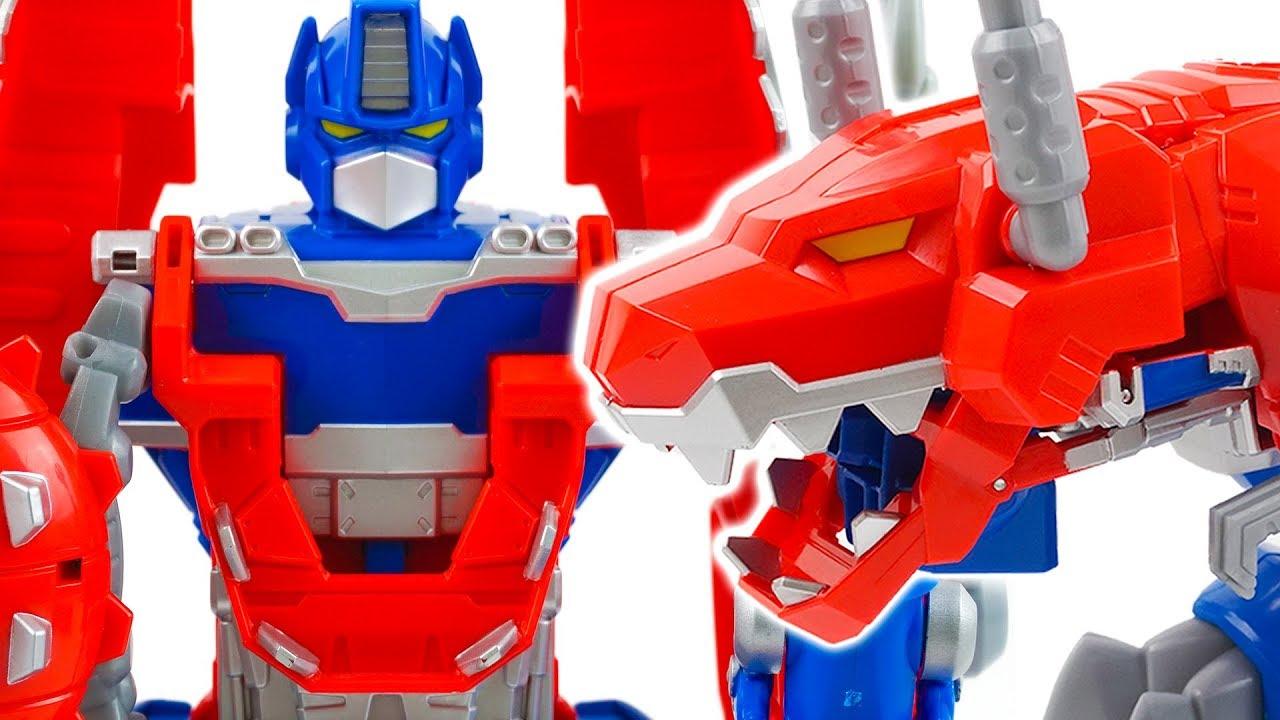 De Prime Optimus Para Juguete Transformers Rescue Dinosaurio Hasbro Niños Bots 2WEH9DI