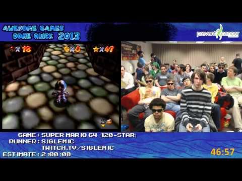 Super Mario 64 - Speed Run in 1:47:48 (120-Star) by Siglemic Live for AGDQ 2013 +bonus 16-star run