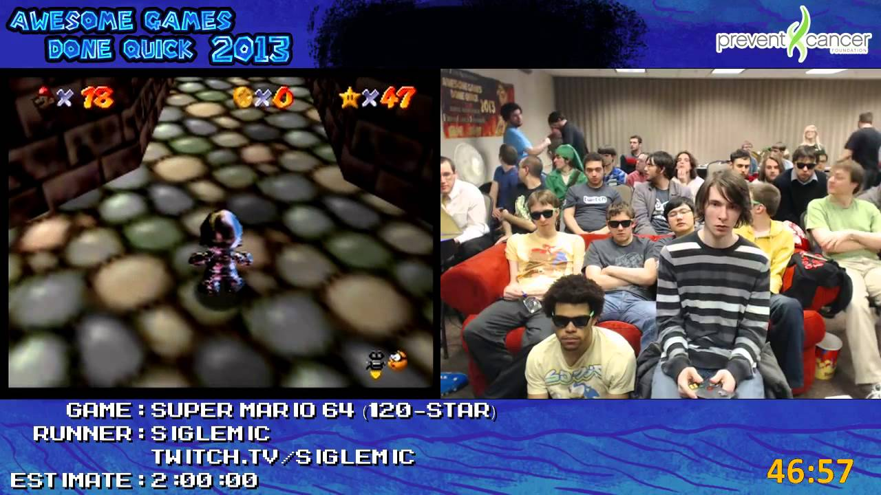 Super Mario 64 - Speed Run in 1:47:48 (120-Star) by Siglemic Live