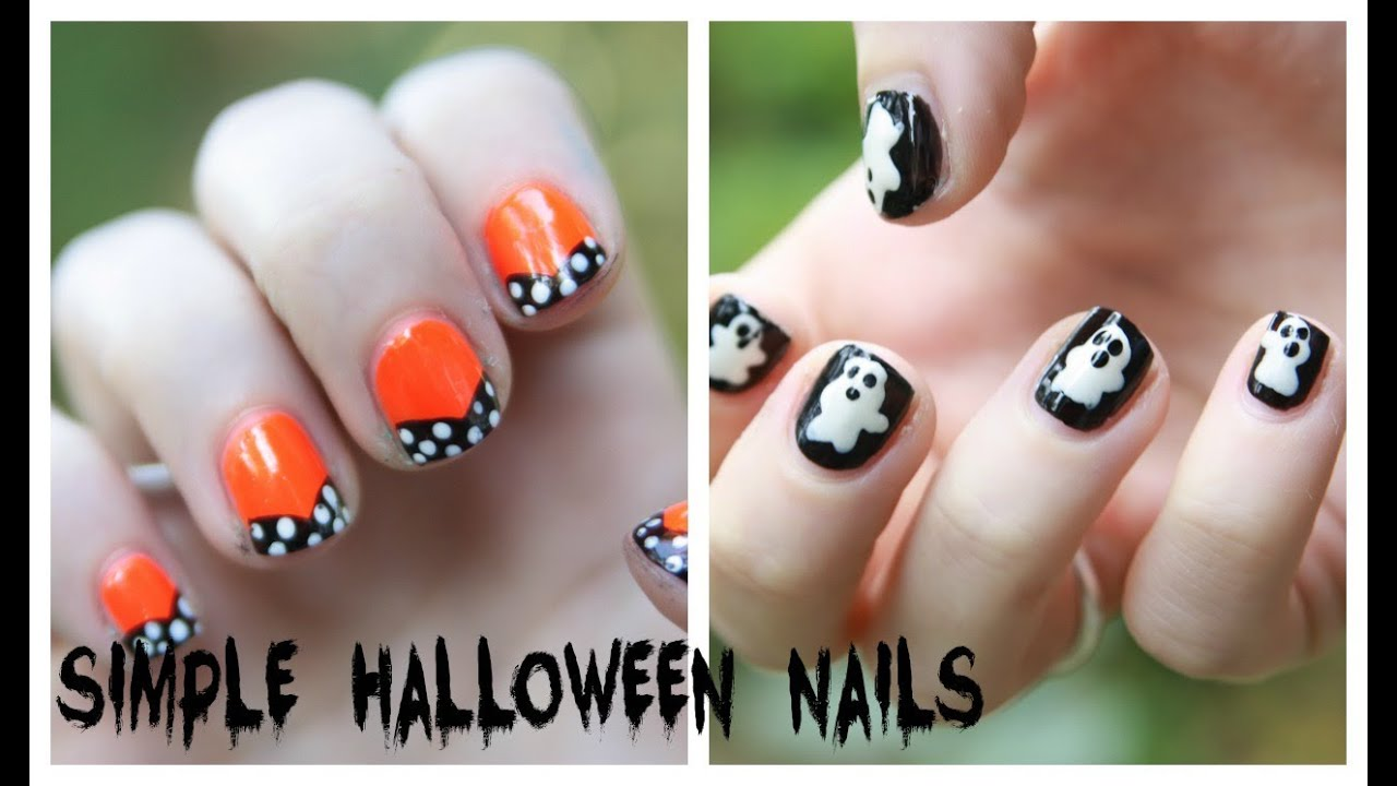 easy halloween nail art designs no nail art tools needed youtube - Halloween Easy Nail Art