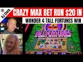 Wonder 4 Tall Fortunes - Max Bet - Outstanding Run on $20.00 In on Wild Lepre'coins
