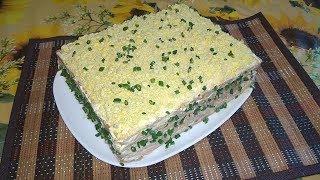 Закусочный торт с рыбными консервами\ Коржи Наполеон