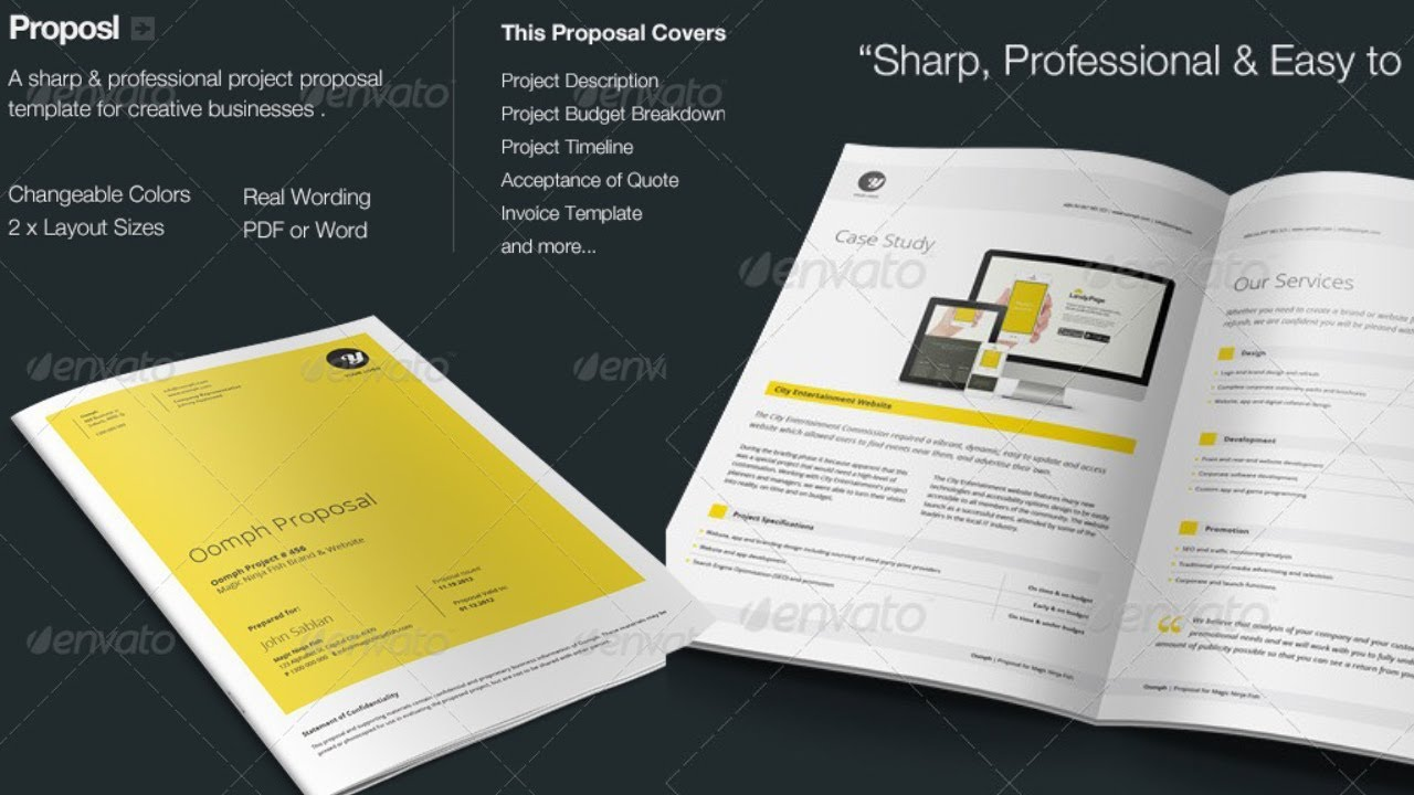 Proposal PhotoShop Template Free Download   YouTube  Professional Project Proposal
