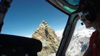 Spectacular Air Zermatt Helicopter Flight over Matterhorn Aug 22nd 2017 (Copilot seat, GoPro 5 2.7k)