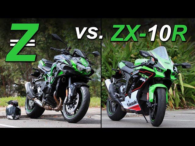 2021 Kawasaki Z H2 vs ZX 10R! Supercharged vs Superbike