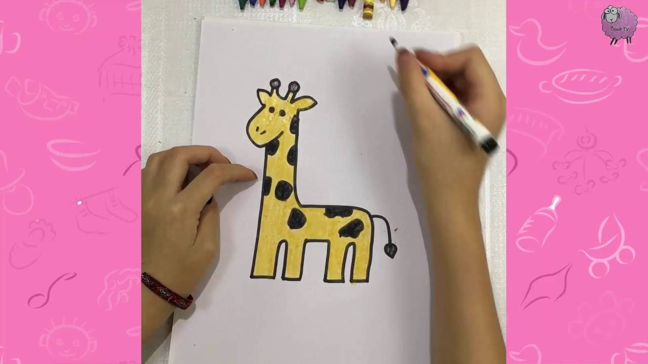 Download How to draw a giraffe for a nursery - draw for kid