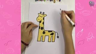 How to draw a giraffe for a nursery - draw for kid