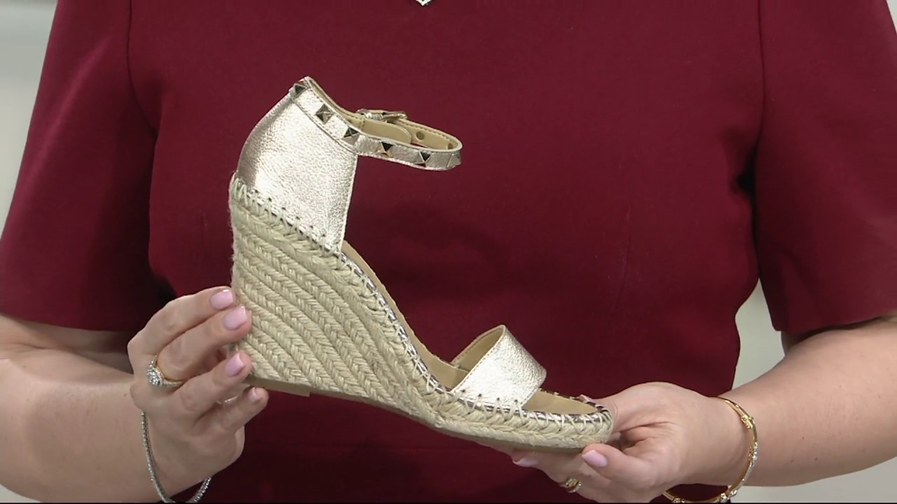 b64d22dd062 Marc Fisher Leather Espadrille Wedges - Kicker on QVC - YouTube