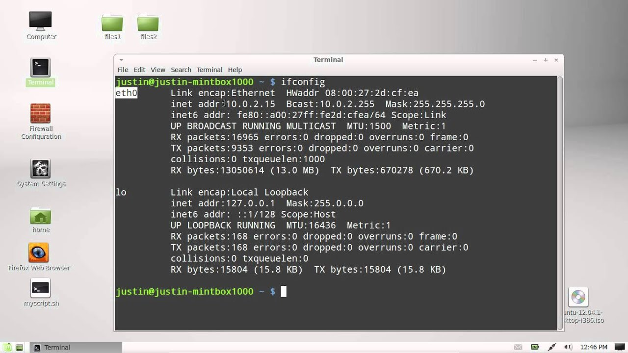 Your Ip Find Your Internal Ip Address In Linux Mint 13 Youtube