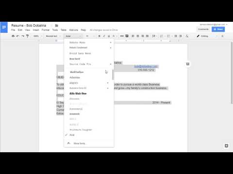 Google Docs - Creating Your Own Resume