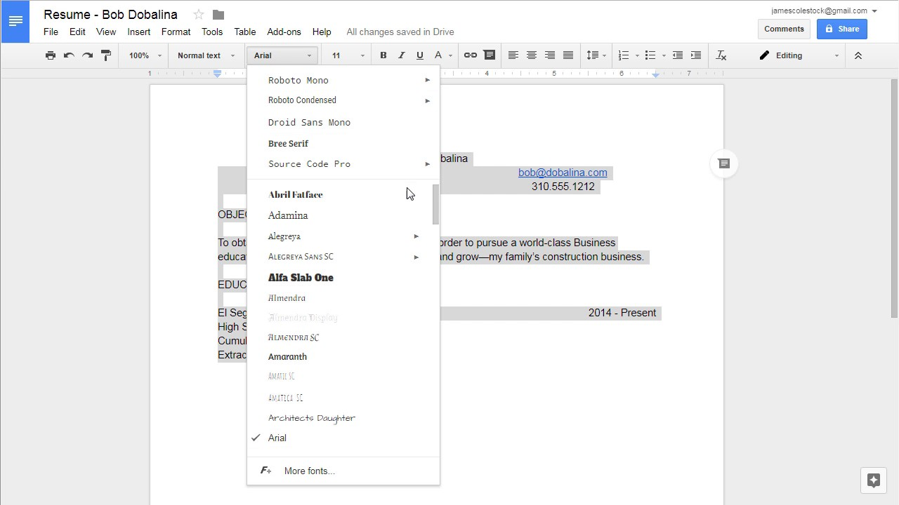 Google Docs   Creating Your Own Resume