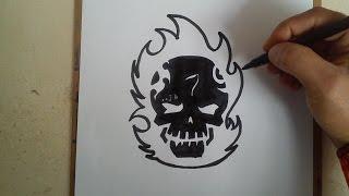 COMO DIBUJAR EL LOGO DE EL DIABLO - SUICIDE SQUAD / how to draw el diablo logo - suicide squad