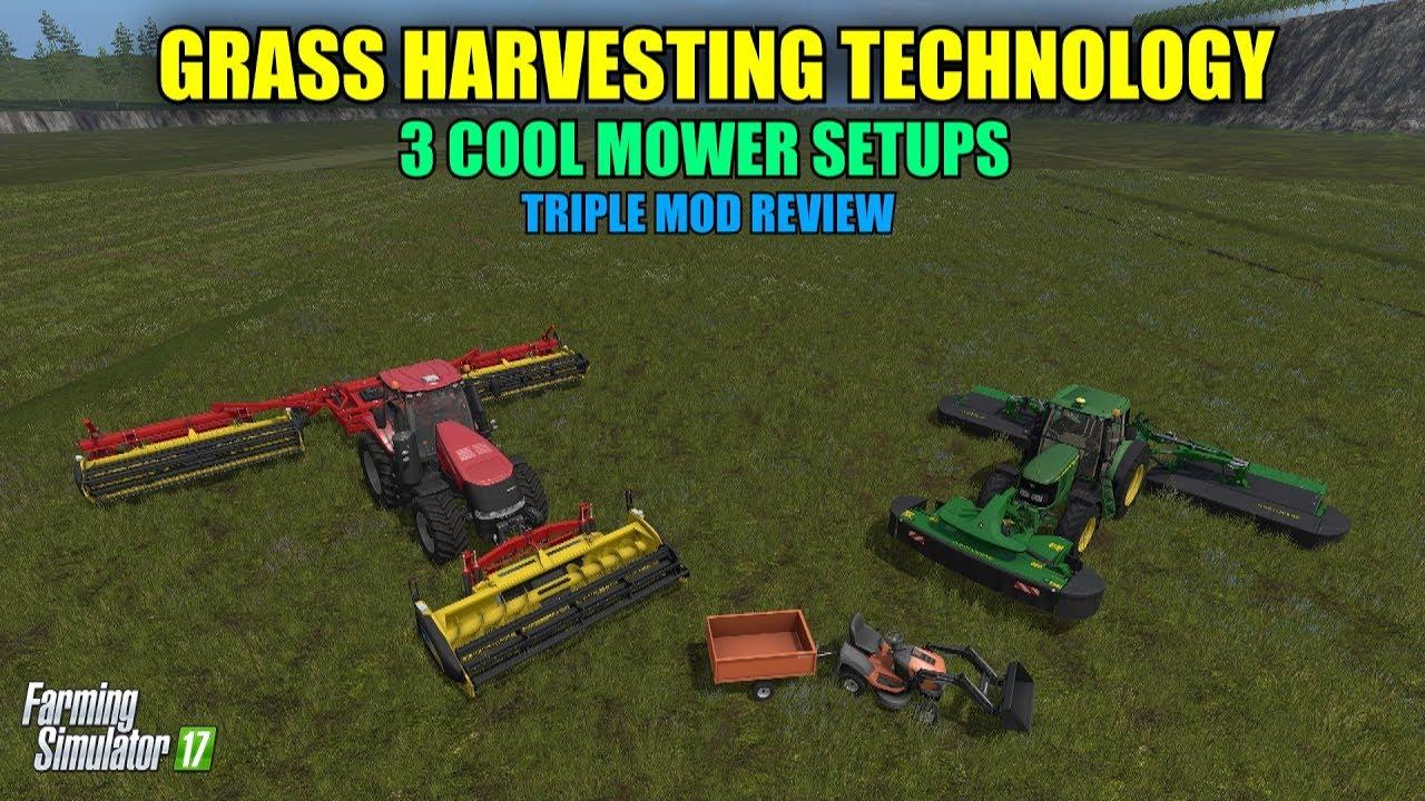 Farming Simulator 17 - Grass Harvesting Technology 3 mowers