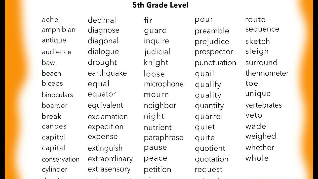 Learn 5th grade English sight words ~ You Tube ~