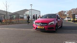 Mercedes A45 AMG leaving AutoblogX meeting LOUD Backfires!
