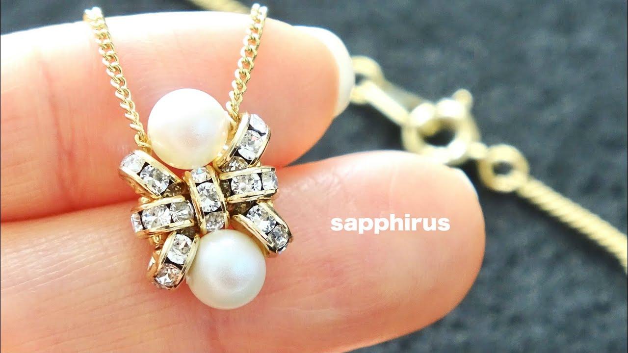 【簡単】ロンデルとスワロフスキーパールの小さなペンダント☆作り方 ビーズネックレス/DIY/Beaded Pendant Necklace/Swarovski pearl/ rondelle