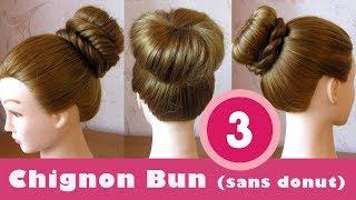 Tuto coiffures simples 💗 Chignon bun sans donut (3 idées) 💗 facile à faire