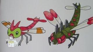 How to draw Pokemon: No.193 Yanma, No.469 Yanmega