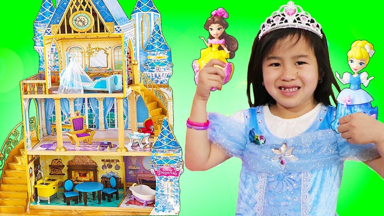 Jannie Pretend Play w Giant Disney PRINCESS Cinderella Doll House Kids Toys