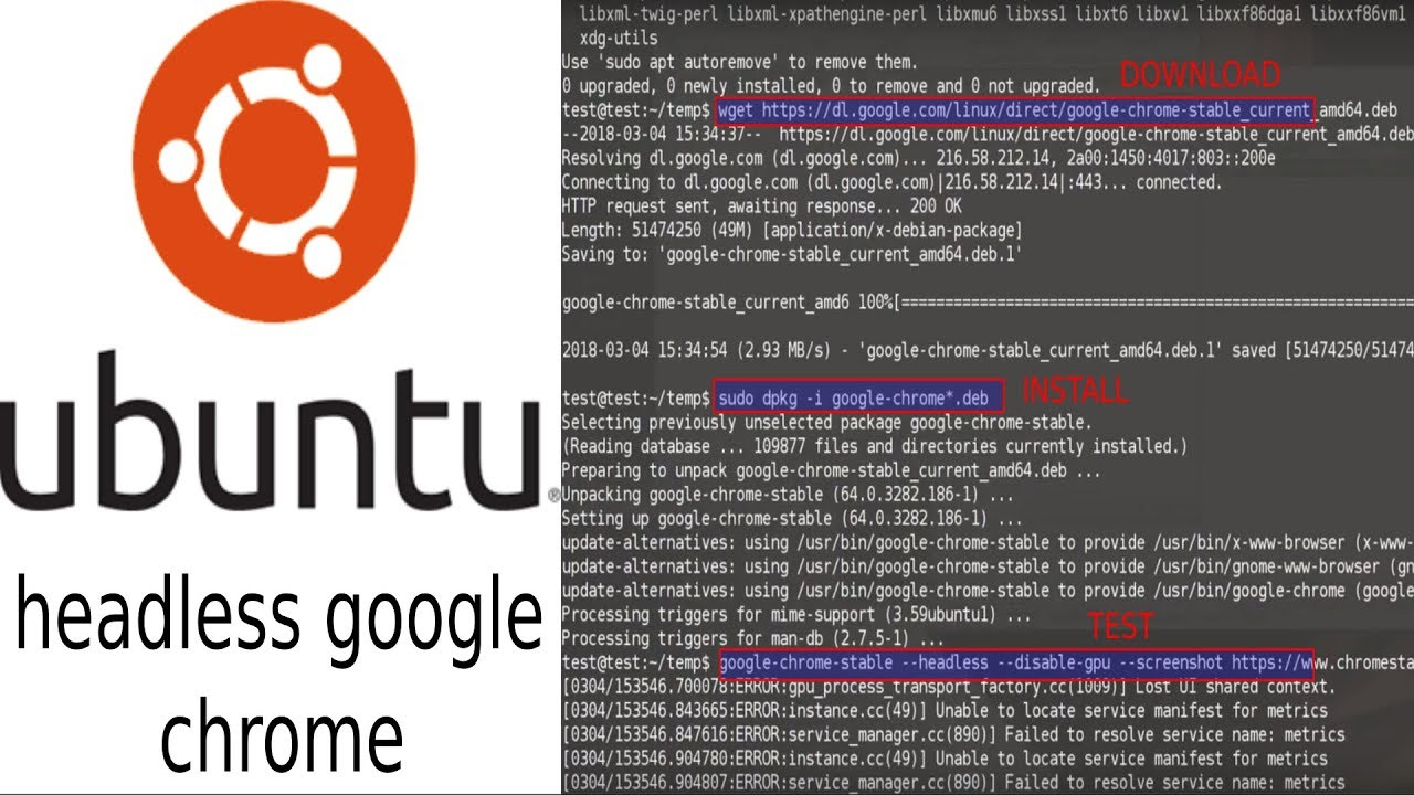 ubuntu 16 04 server install headless google chrome