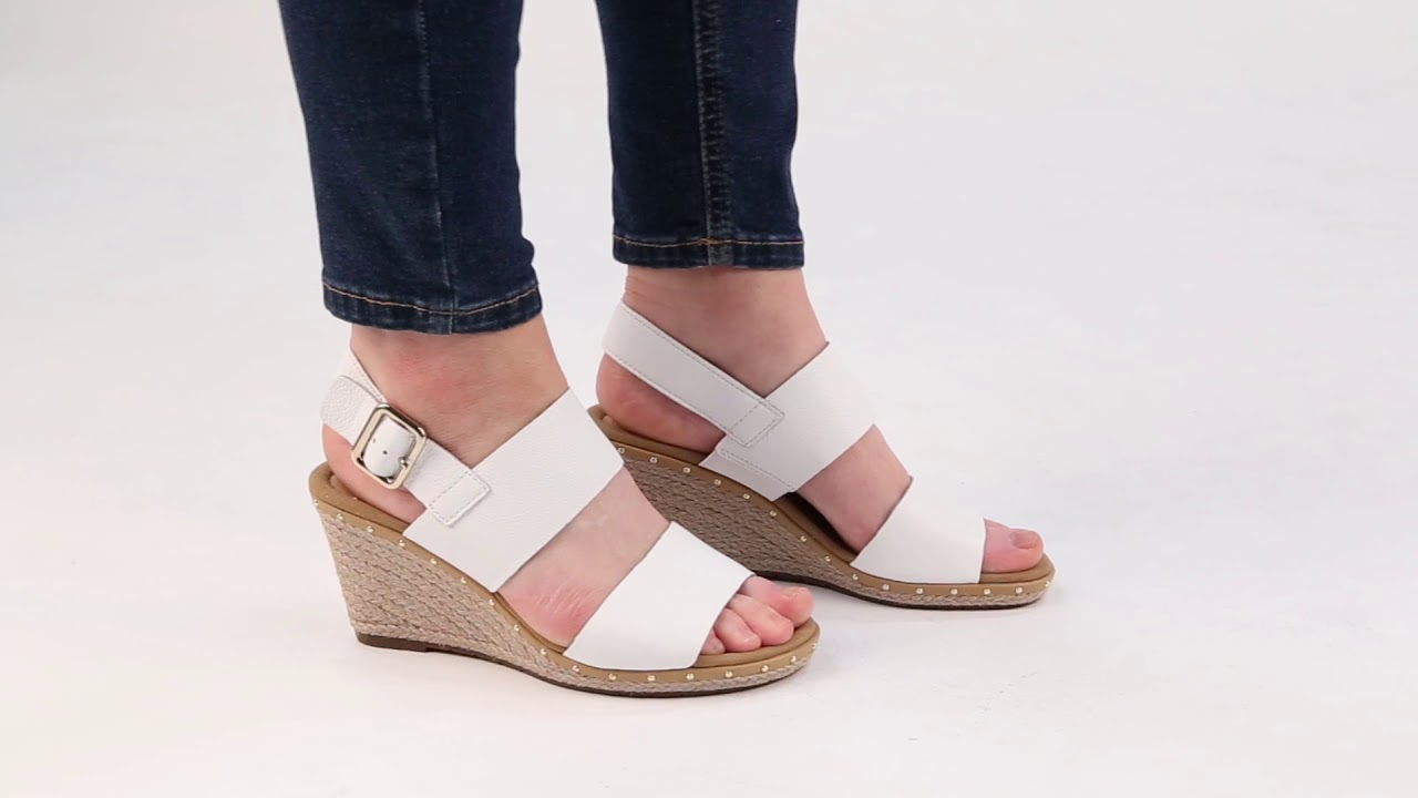 d689ca207c Gabor Anna 2 Womens White Leather Wedge Heel Sandals - YouTube
