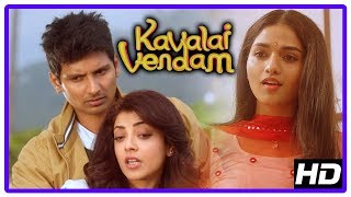 Kavalai Vendam Movie Scenes   Kajal insults Sunaina   Jiiva and Kajal escape from goon   Mayilsamy