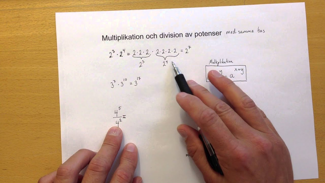 Potenser   introduktion multiplikation och division