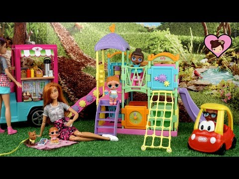 Barbie Doll Family LOL Surprise Play Date in The Playground thumbnail