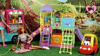 Barbie Doll Family LOL Surprise Play Date in The Playground