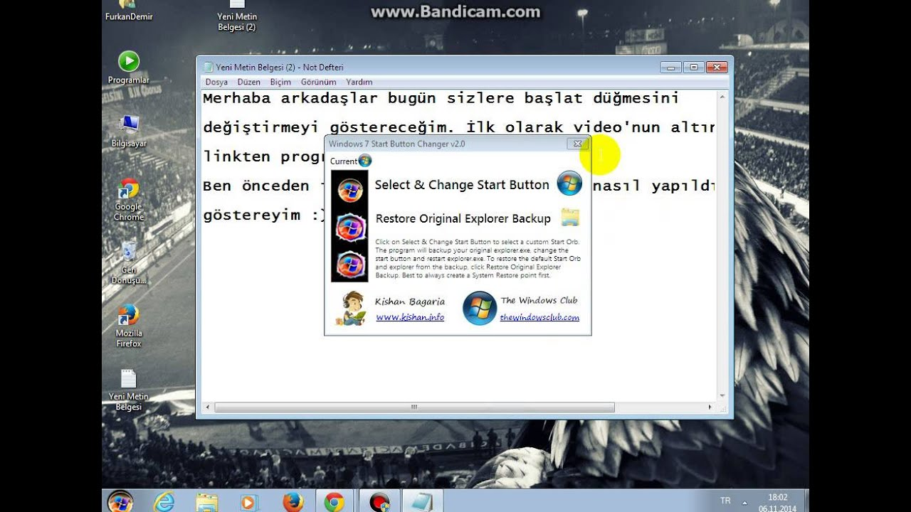 Windows 7 başlat düğmesi değiştirme(Start button changer v2 0)