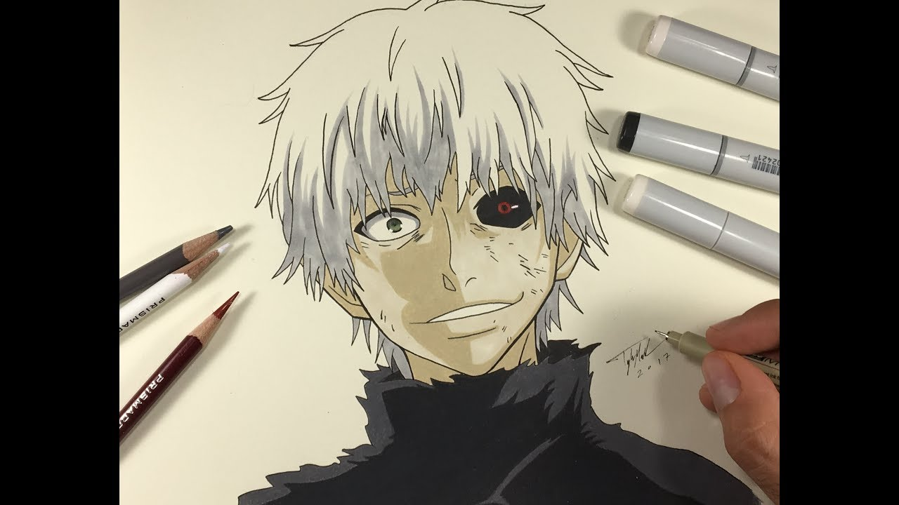 Fan Favor Friday Drawing Ken Kaneki White Hair Tokyo Ghoul Autodesk Sketchbook Mahnster Art Youtube