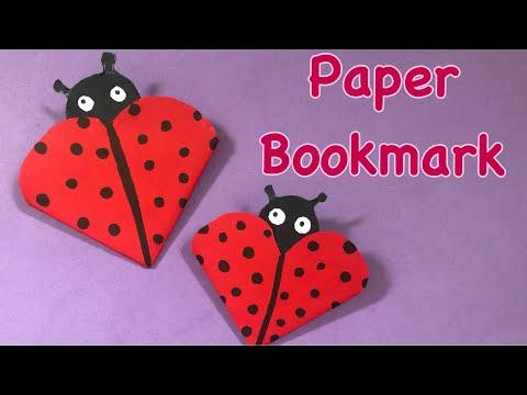 Paper craft idea-ladybug corner paper bookmark - Diy back to school - easy craft for kids |bookmark