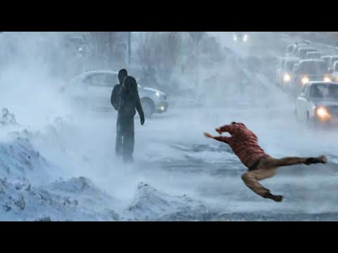 Severe Wind KNOCKED People Down: Snowstorm in Vladivostok, Russia winter. Natural Disasters