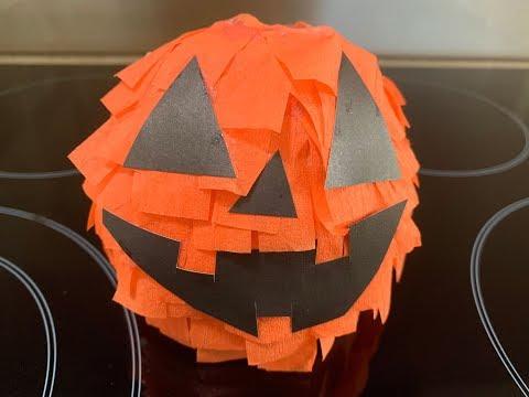 ASMR | Halloween Jack-O-Lantern Paper Mache Art & Craft (no talking)