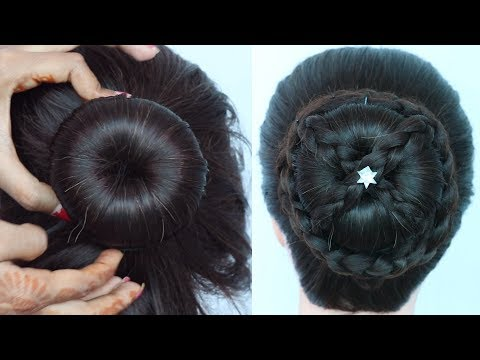 new-latest-juda-hairstyle-for-gown,-party,-weddings,-function,-wedding-guest,-lehnga-|-bun-hairstyle