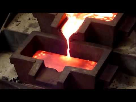 Pouring a bar of gold